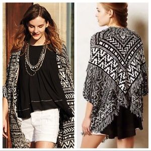 ANTHROPOLOGIE Moth Fringed Cardigan Sweater
